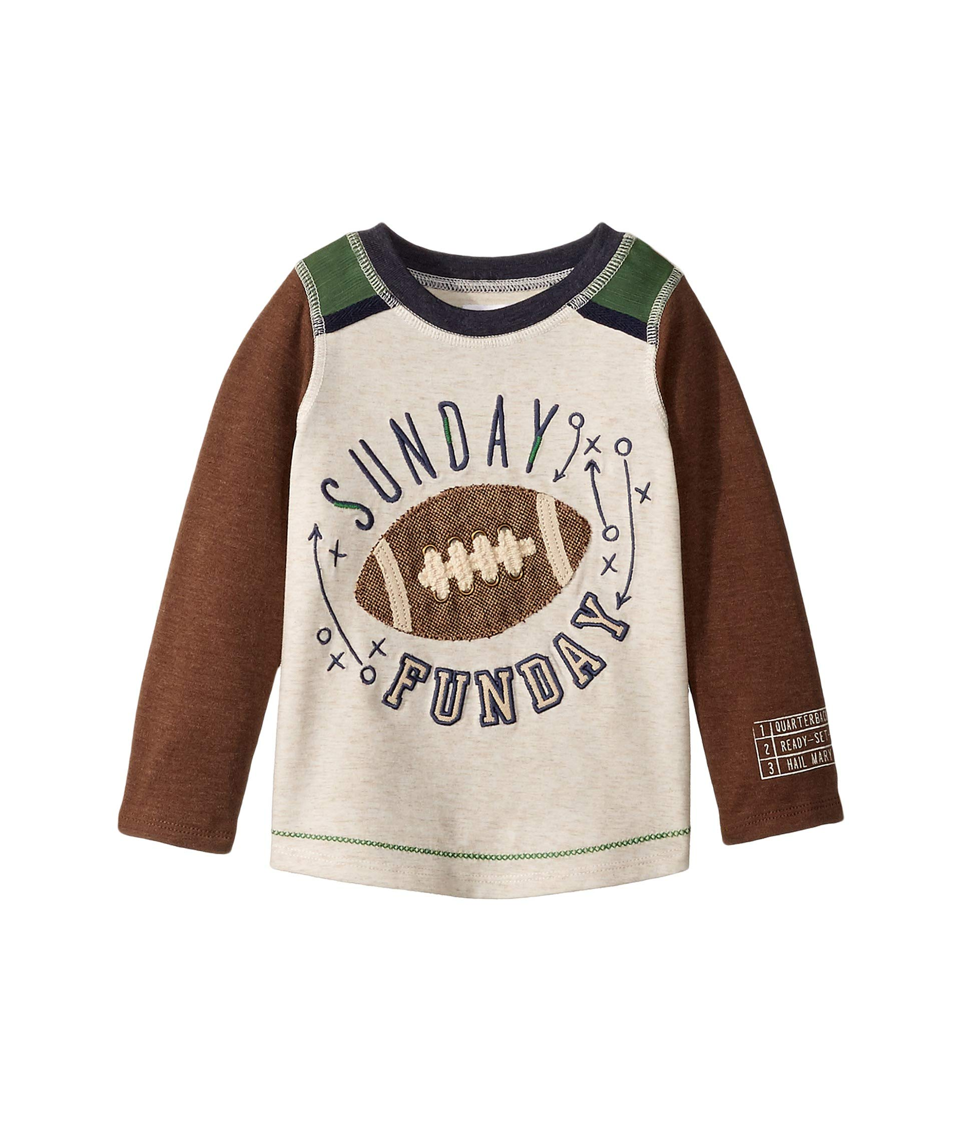 Mud Pie Baby Boy's Football Long Sleeve Raglan T-Shirt (Infant/Toddler) Brown MD (2T-3T Toddler) by Mud Pie