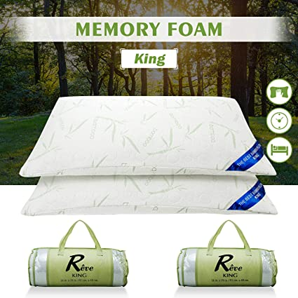 "2PCS Home Shred Memory Foam Hypoallergenic Pillows with Bag King Size 19"" x 36"""