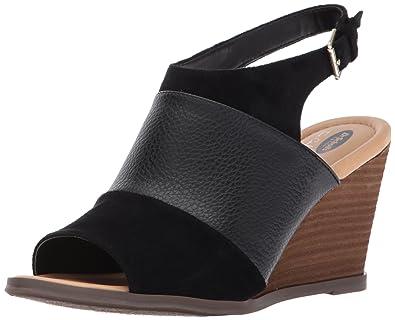 c262a57d5578 Dr. Scholl s Shoes Women s Peaceful Platform Sandal Black Smooth Microfiber  ...