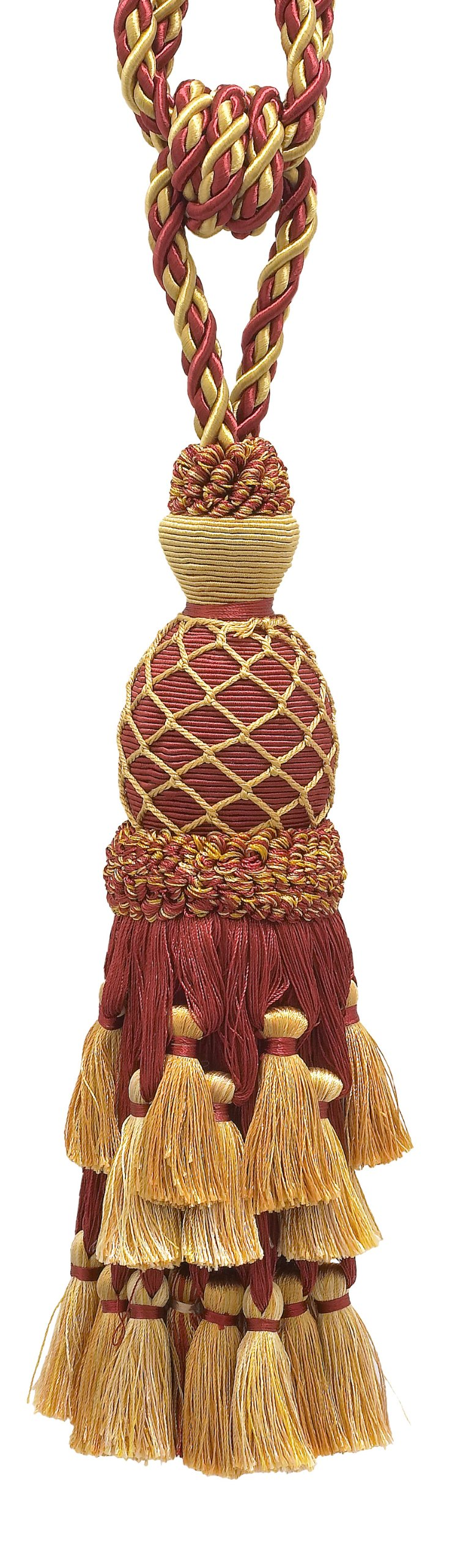 """Lavish Burgundy Red, Gold Large Curtain & Drapery Tassel Tieback/Large 11"""" tassel, 34"""" Spread(embrace), 7/16"""" Cord, Imperial II Collection Style# TBIL-1 Color BURGUNDY GOLD - 1253"""