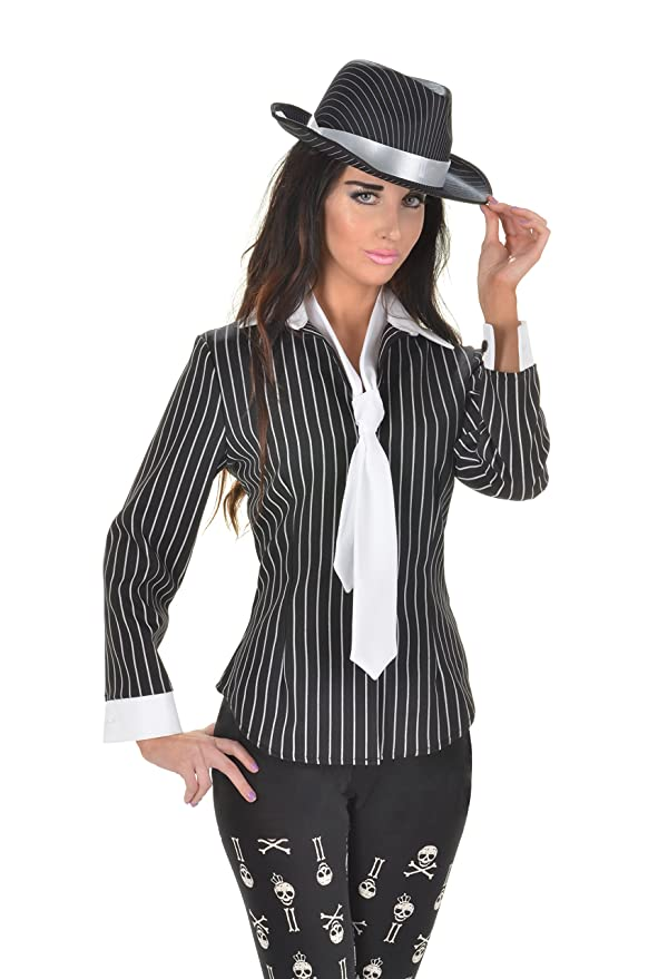 1940s Costumes- WW2, Nurse, Pinup, Rosie the Riveter Underwraps Womens Gangster Fitted Shirt $33.80 AT vintagedancer.com