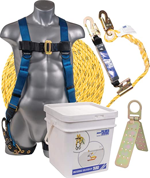 Palmer Safety Fall Protection Roofing Bucket Kit I Full-Body Harness, 50'  Vertical Rope & AnchorAmazon.com