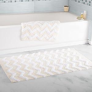 Lavish Home 100% Cotton 2 Piece Chevron Bathroom Mat Set - Bone