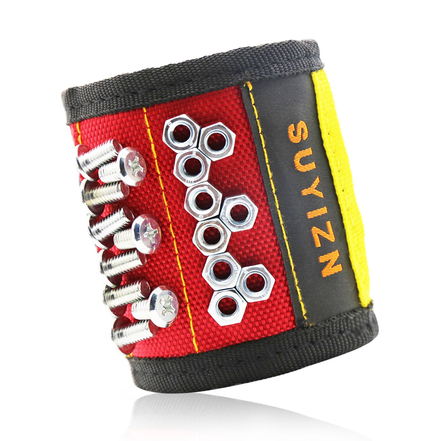 SUYIZN Magnetic Wristband with Strong Magnets for Holding Screws Nails Drilling Bits of The Best Valentine's Day Tools for Men Red