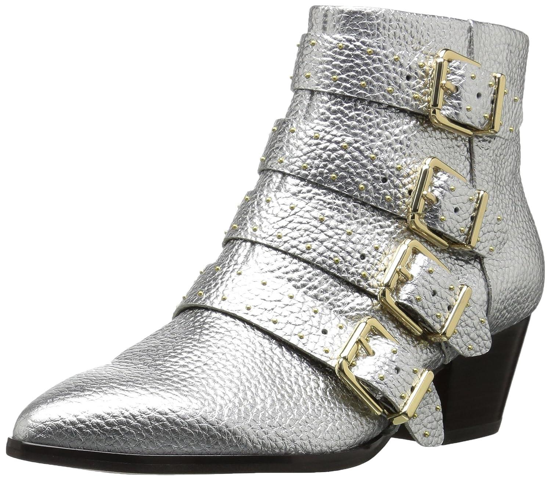 The Fix Womens Hazel 4 Buckle Strap Ankle Boot B074JP4G7T 9.5 B(M) US|Silver Metallic Leather
