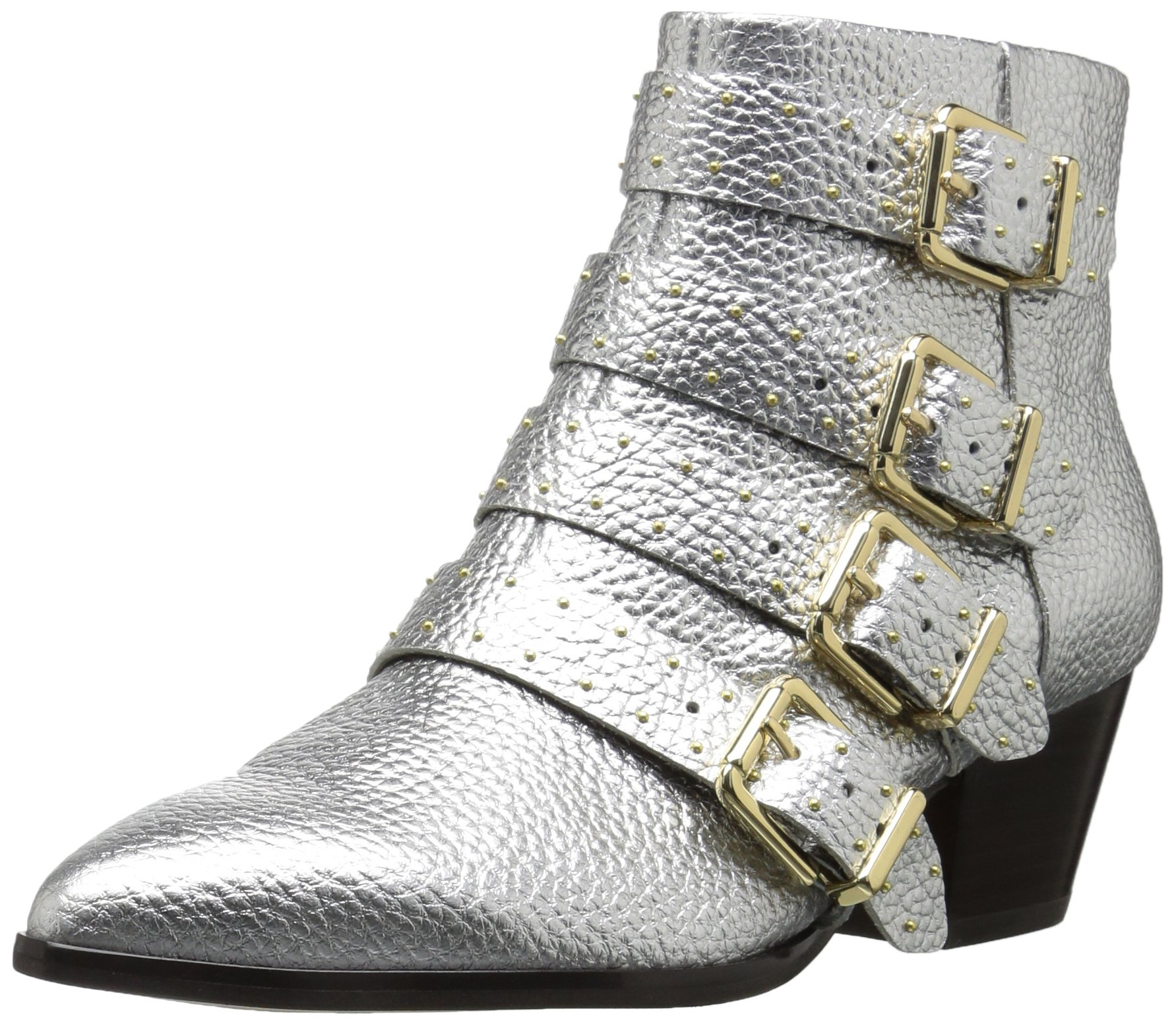 The Fix Women's Hazel 4-Buckle Strap Ankle Boot, Silver Metallic, 7 B US