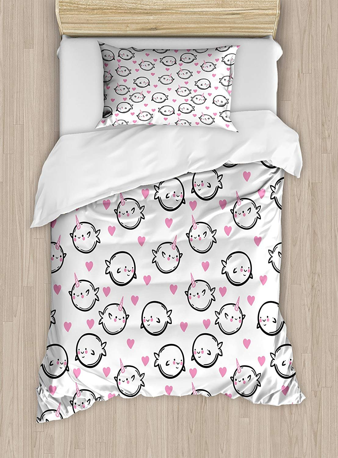 Twin XL Extra Long Bedding Set,Narwhal Duvet Cover Set,Heart Background Doodle Style Whales Sweet Ocean Mammals Childrens Cartoon,Cosy House Collection 4 Piece Bedding Setss
