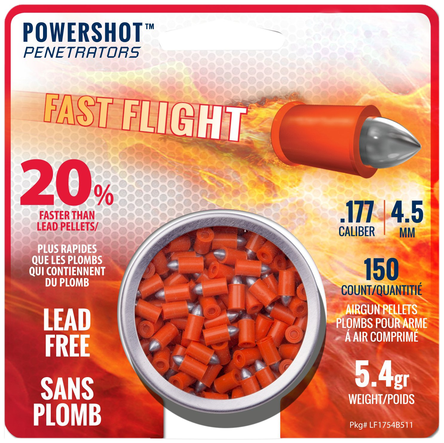 Crosman LF1754 PowerShot Fast Flight Penetrator Pellets.177 Cal, 5.4 Grains, Pointed, Lead-Free, 150ct