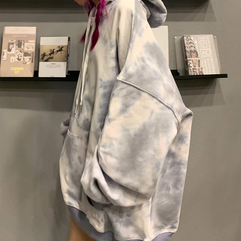 HOVYGB Frauen Streetwear Kleidung Persönlichkeit Beiläufiges Loses Langarm Hoodie Sweatshirt Grau