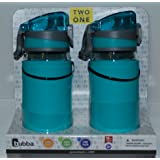 Bubba TWO for ONE 16 oz. Leak Proof Cap Lock Childrens Water Bottles (Teal)