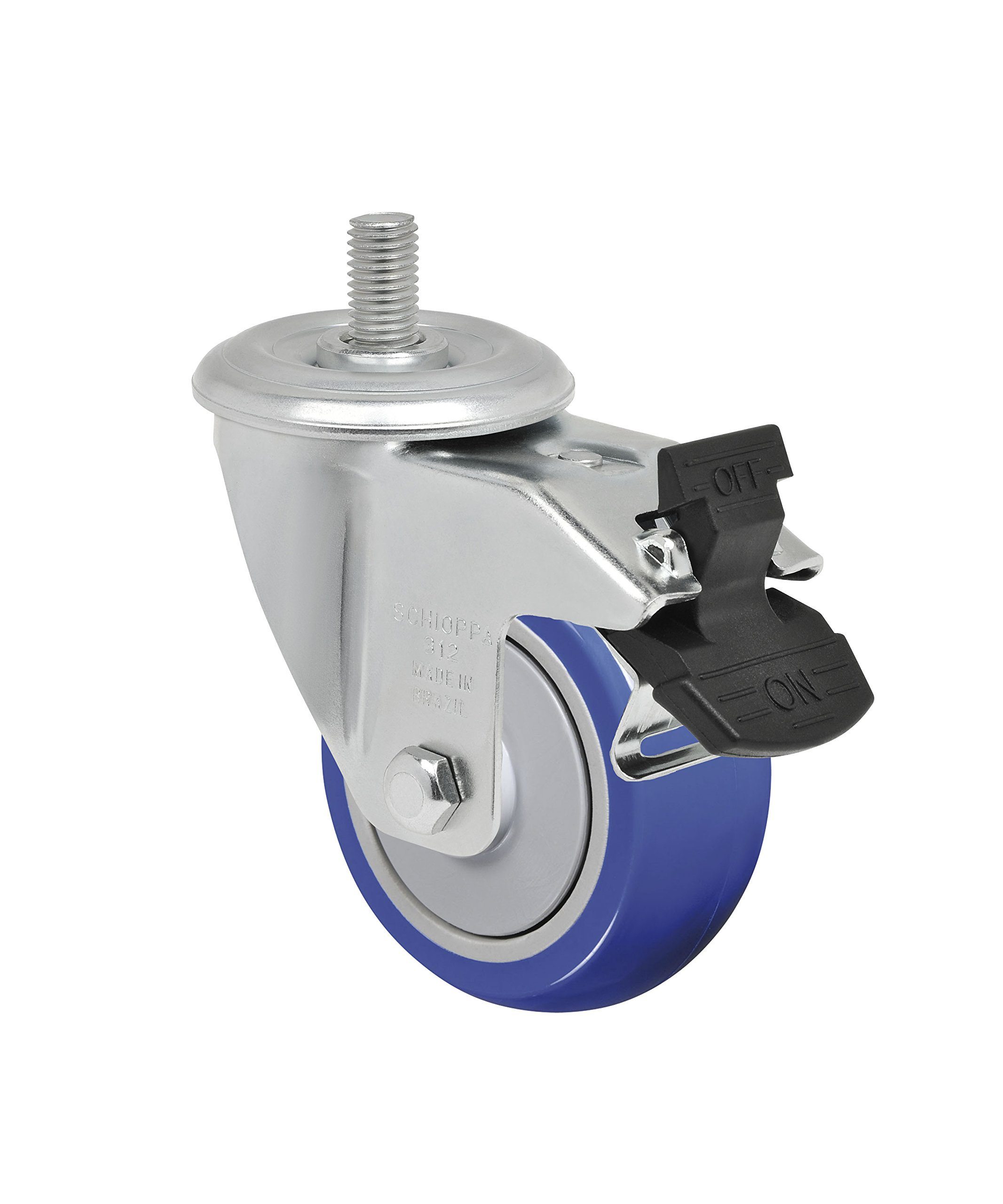 Schioppa L12 Series, GLEED 312 TP G, 3 x 1-1/4'' Swivel Caster with Total Lock Brake, Non-Marking Thermoplastic Compound Wheel, 150 lbs, 3/8'' Diameter x 1-1/2'' Length Threaded Stem