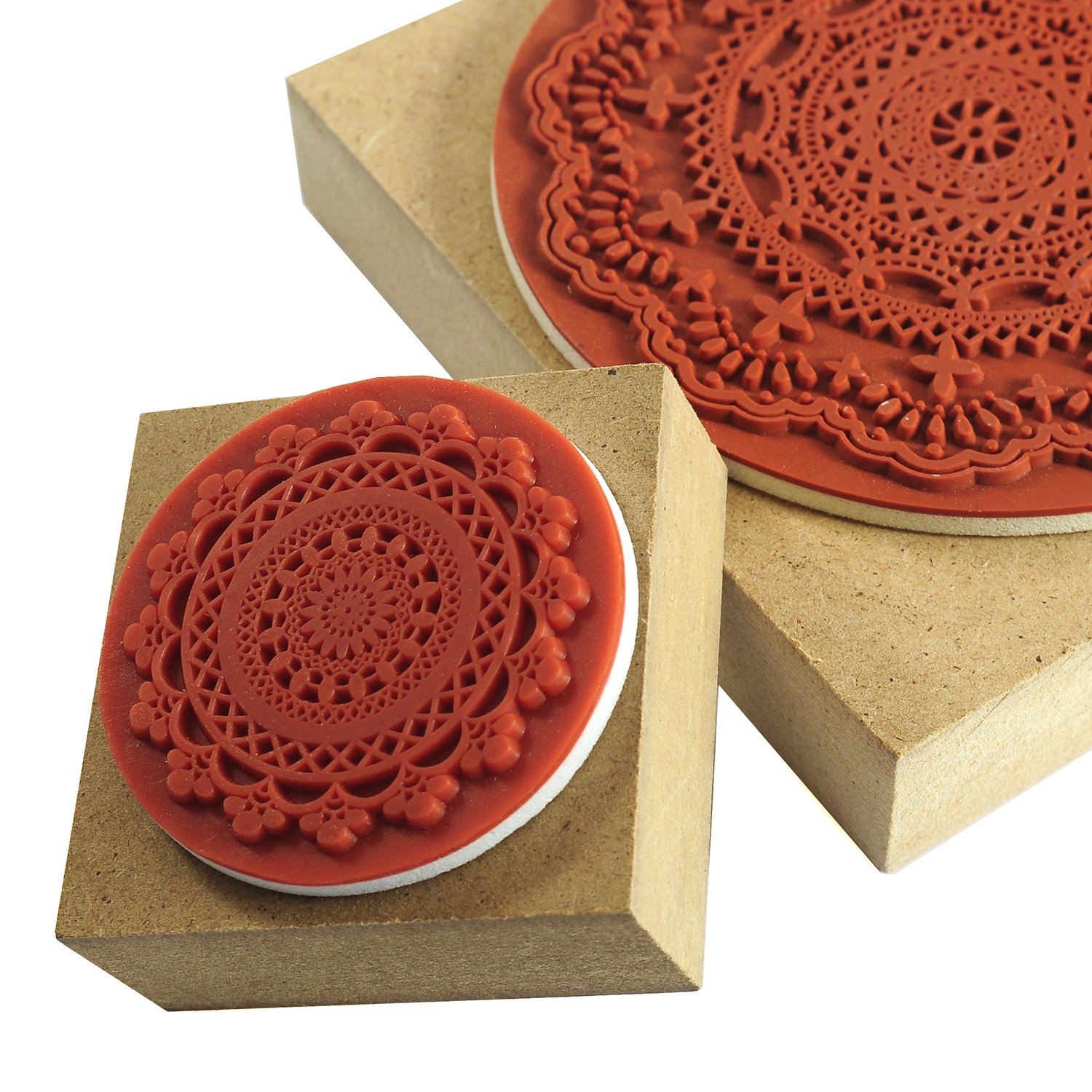 YazyCraft Decorative Wooden Stamps - 2 pcs (Large and Small) - Lace ...