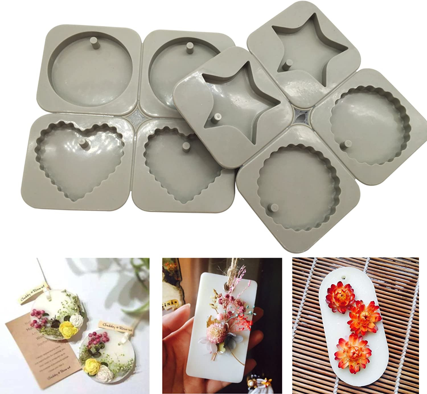 Resin Casting Molds 2pcs//set Silicone Resin Jewelry Molds Making with Hanging Hole for DIY Jewelry Craft Making