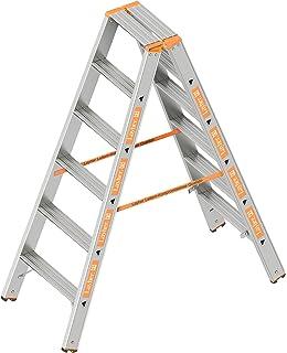 beidseitig begehbar klappbar Layher 1043008 Stufenstehleiter Topic 8 Aluminiumleiter 2x8 Stufen 80 mm breit L/änge 2.00 m