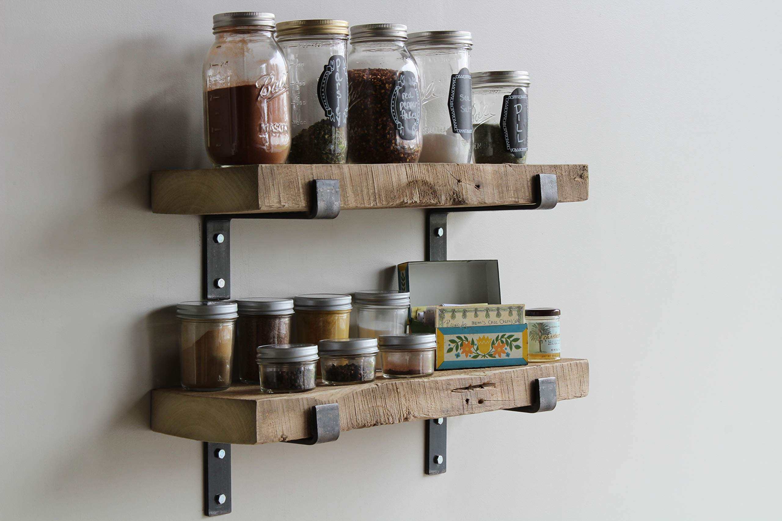 Reclaimed Wood Accent Shelves Rustic Industrial - Amish Handcrafted in Lancaster County, PA - Set of Two | 24 Inches, (Genuine Salvaged/Reclaimed with Raw Metal Brackets) (Natural 24''x 7''x 2'') by Urban Legacy (Image #3)