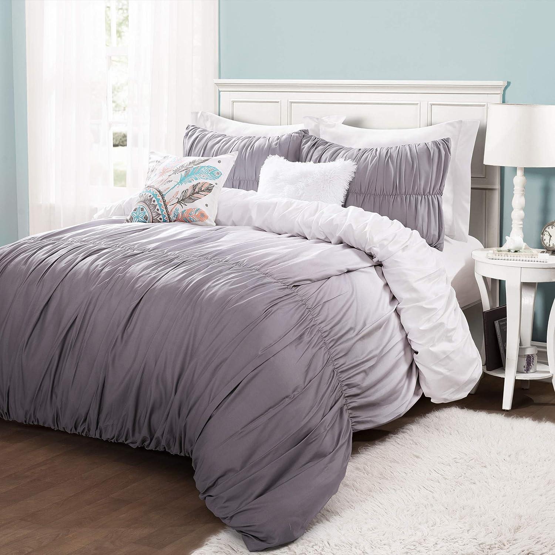 Lush Decor Umbre Fiesta 5 Piece Comforter Set, King, Gray