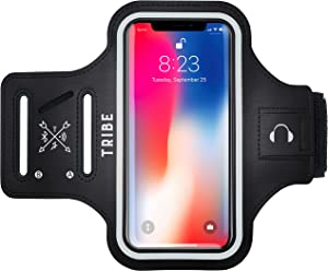 TRIBE Running Phone Holder Sports Armband. iPhone Cell Phone Arm Bands for Women, Men, Runners, Jogging, Cycling, Walking, Exercise & Gym Workout. Cell Case for iPhones, Galaxy & More! Fits All Phones