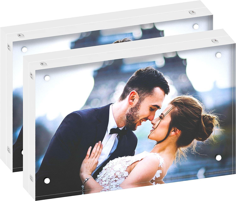 DEKIRU Acrylic Photo Frame – 4x6 (2 Packs), 20mm Thick • Magnetic Acrylic Frame • Frameless Desktop Picture Frames • Floating Photo Frame • Grade AAA Clear Acrylic Frame Block • Double Sided Frame