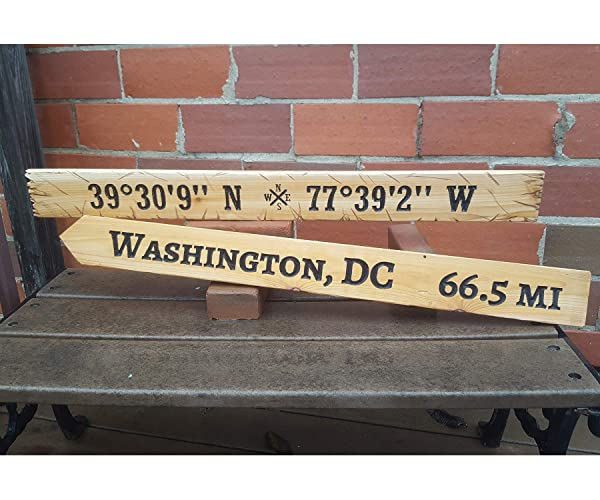 Amazon com: Directional Sign Latitude Longitude Distance City Miles