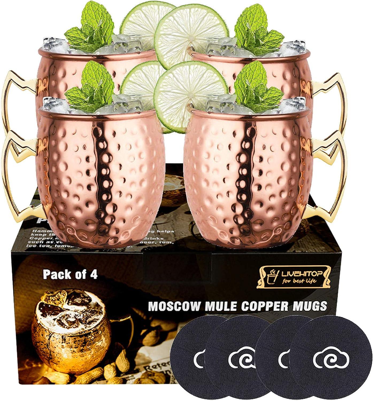 Gobelets INOX 304 de 2 Pi/èces de 500 ML Id/éal Cadeau pour No/ël et F/ête Velaze Moscow Mule Ensemble de Mugs Cuivre Copper Mug INOX Cuivre avec Poign/ée pour Cocktail//Boissons Glac/ées