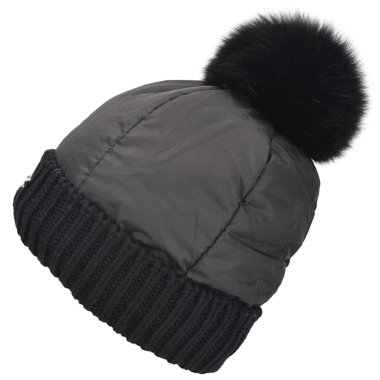 428d11d3599 Womens Grils Light Weight Fleece Lining Warm Winter Ski Hat Removable Fox Fur  Pom Pom Knit Beanie Hat Cotton Padded Cap