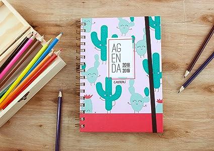 Casterli - Colección Happiness - Agenda Escolar 2018/19, día página, tamaño A5 - CACTUS