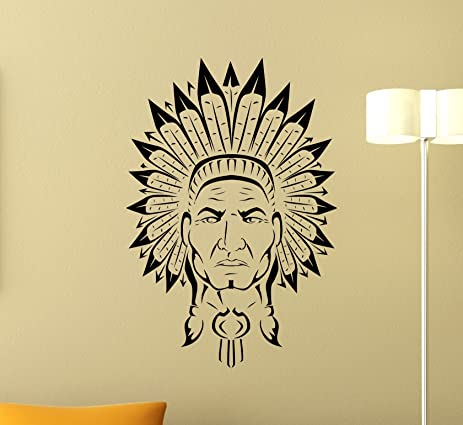 Native American Wall Vinyl Decal Indian Chief Vinyl Sticker Indian ...