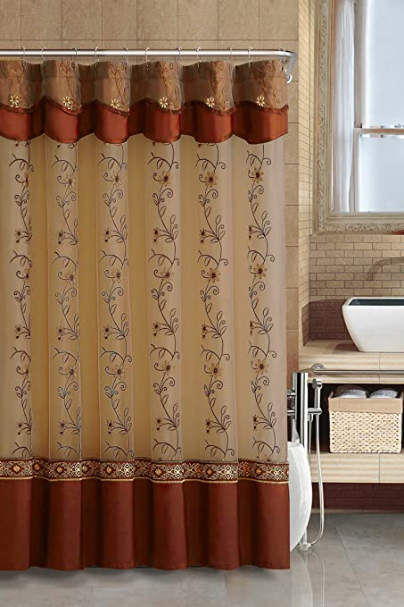 Two Layered Embroidered Fabric Shower Curtain With Attached Valance Cinnamon
