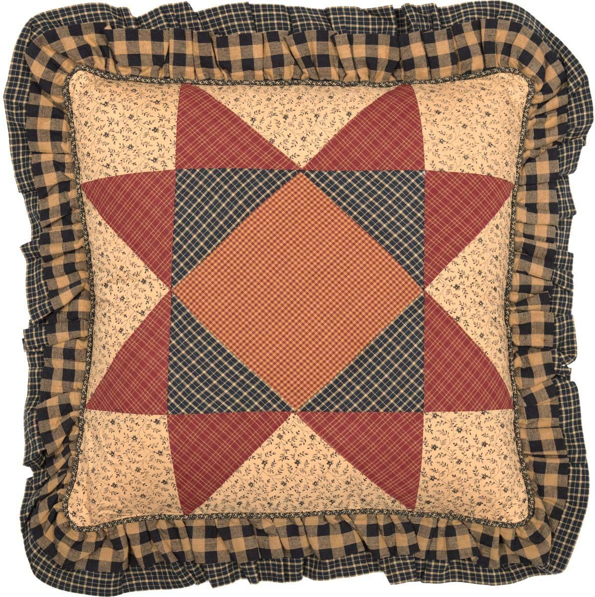 """VHC Brands Classic Country Primitive Pillows & Throws - Maisie Tan Patchwork 18"""" x 18"""" Pillow, Natural"""
