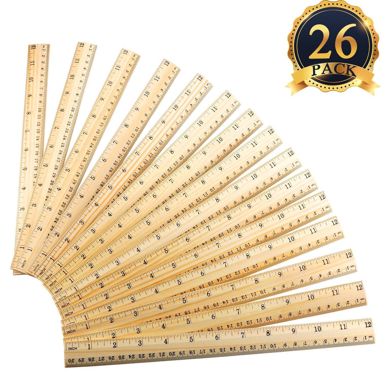 SUBANG 26 Packs Student Ruler Wood Ruler Wooden School Rulers Office Ruler Measuring Ruler, 2 Scale (12 Inch and 30 cm)