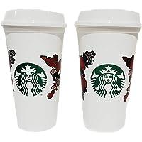 STARBUCKS Love Heart Rose Reusable Cups Valentine's Day 2019 Grande 16oz Coffee Cups (2pcs)