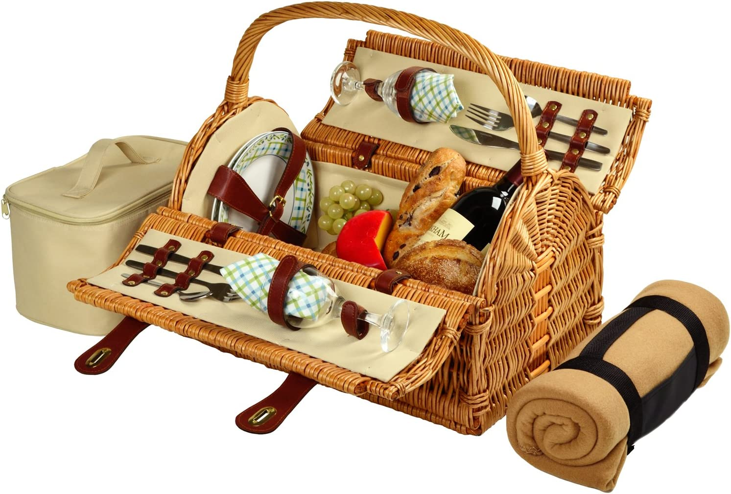 Picnic at Ascot Huntsman English-Style Willow Picnic Basket with Service for 2 and Blanket- Designed, Assembled & Quality Approved in the USA