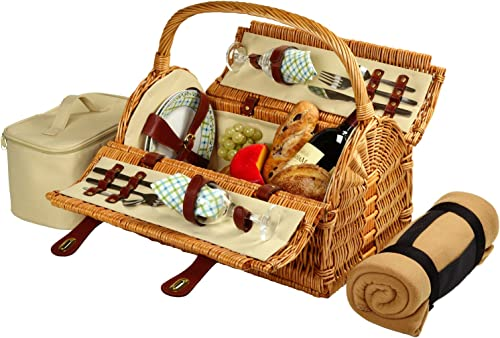 Picnic at Ascot Huntsman English-Style Willow Picnic Basket with Service for 2 and Blanket- Designed, Assembled Quality Approved in the USA