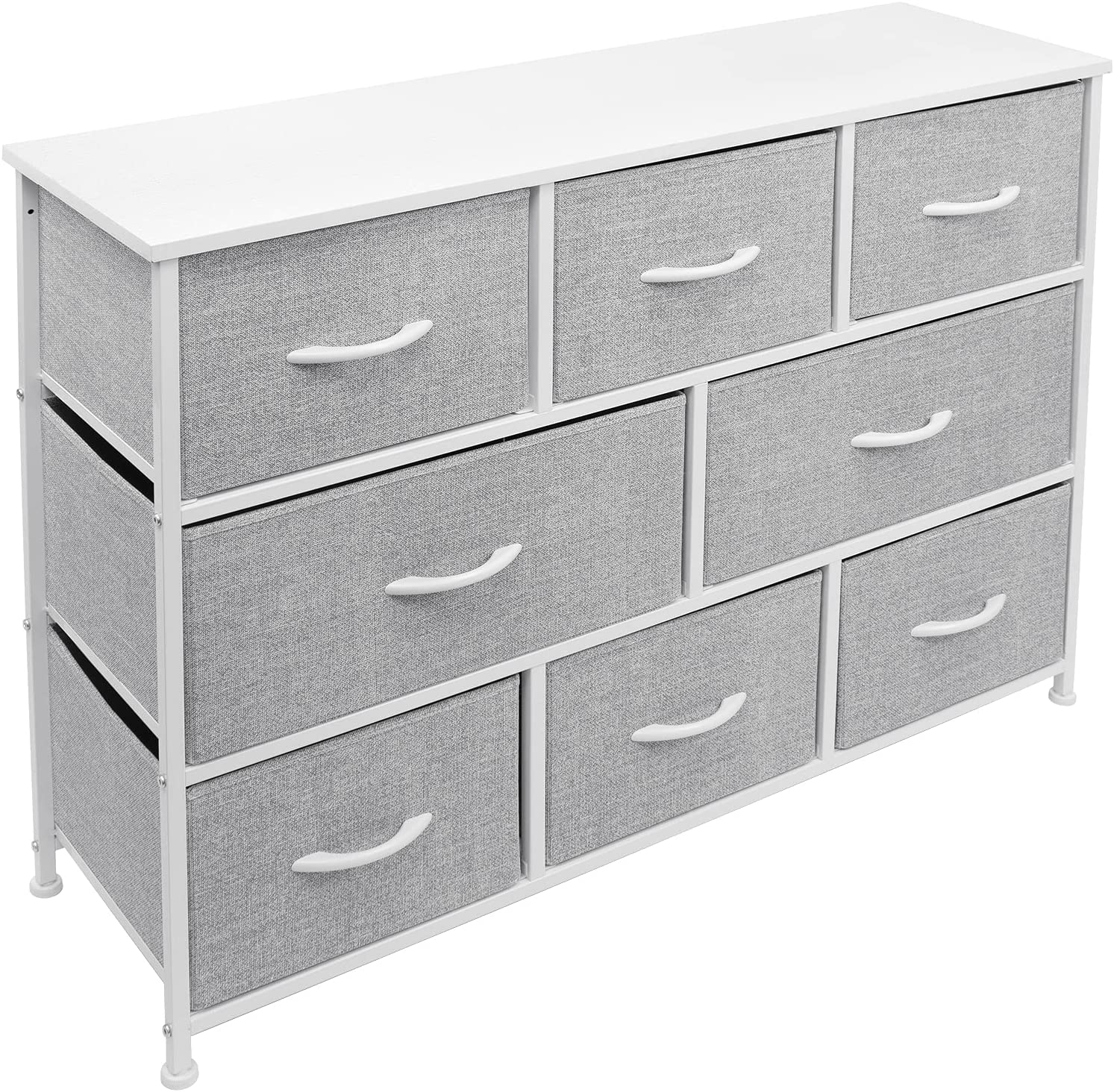 Sorbus Dresser with 8 Drawers - Furniture Storage Chest Tower Unit for Bedroom, Hallway, Closet, Office Organization - Steel Iron Frame, Rustic Farmhouse Wood Top, Fabric Bins (White)