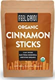 "Organic Cinnamon Sticks - 100+ Sticks - 2 3/4"" Length - 16oz Resealable Bag (1lb) - 100% Raw From Indonesia - by Feel Good Organics"