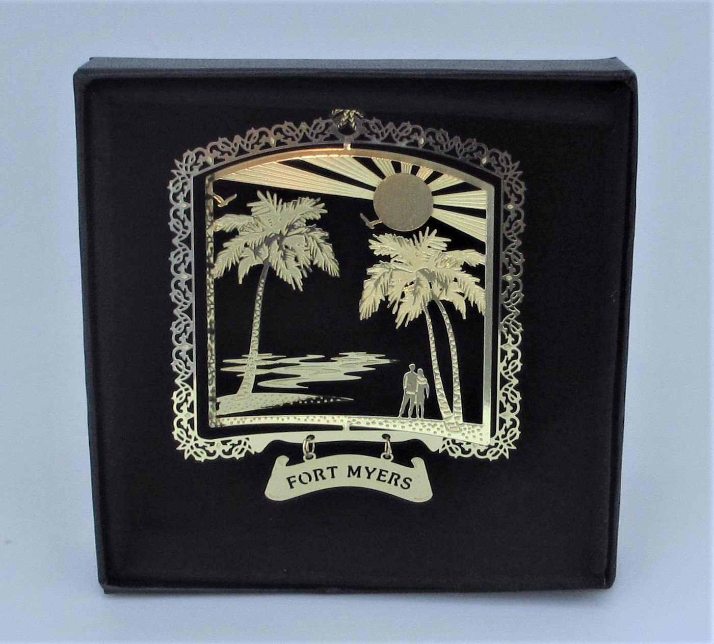 I Love My State Fort Myers Brass Ornament Florida Black Leatherette Gift Box