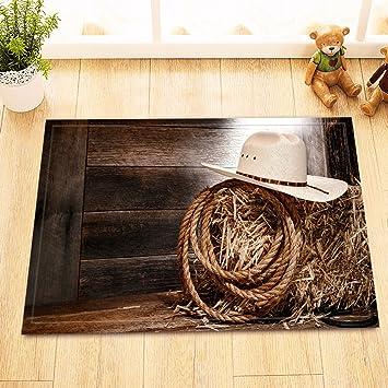 LB Western Cowboy Hat In Rustic Farm Barn Straw Small Bathroom Rugs , Soft  Microfiber And