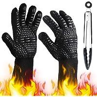 TWBEST Barbecuehandschoenen, hittebestendig tot 800 °C, ovenhandschoenen, BBQ, grillhandschoenen, leer, voor barbecue en…
