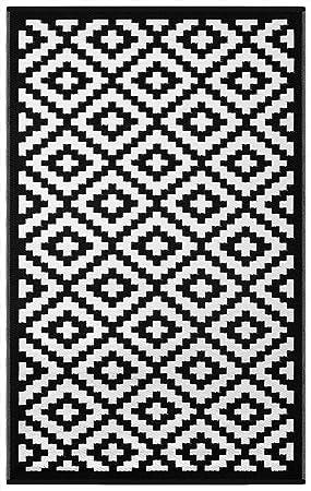 0c0db4ab01f69e Green Decore Tapis d'Intérieur et d'Extérieur Réversible en Plastique  Recyclé, Indoor/Outdoor Tapis Écologique Léger, 120 x 180 cm, Noir/Blanc