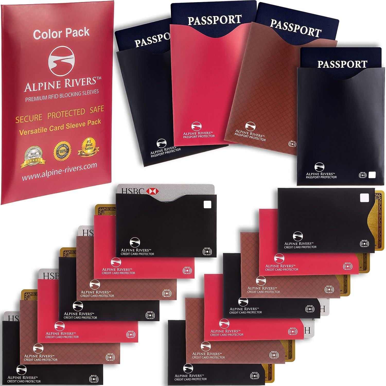 cbd14de29afd 18 RFID Blocking Sleeves (14 Credit Card Holders & 4 Passport Protectors)  Ultimate Premium Identity Theft Protection Sleeve Set for Men & Women.  Smart ...