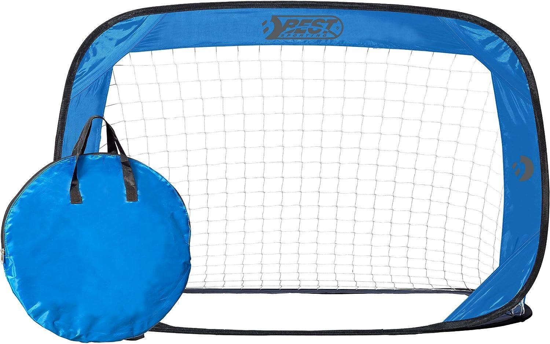 Porter/ía de f/útbol Color Azul 2 porter/ías de f/útbol, con Bolsa de Transporte y piquetas Best Sporting Pop up