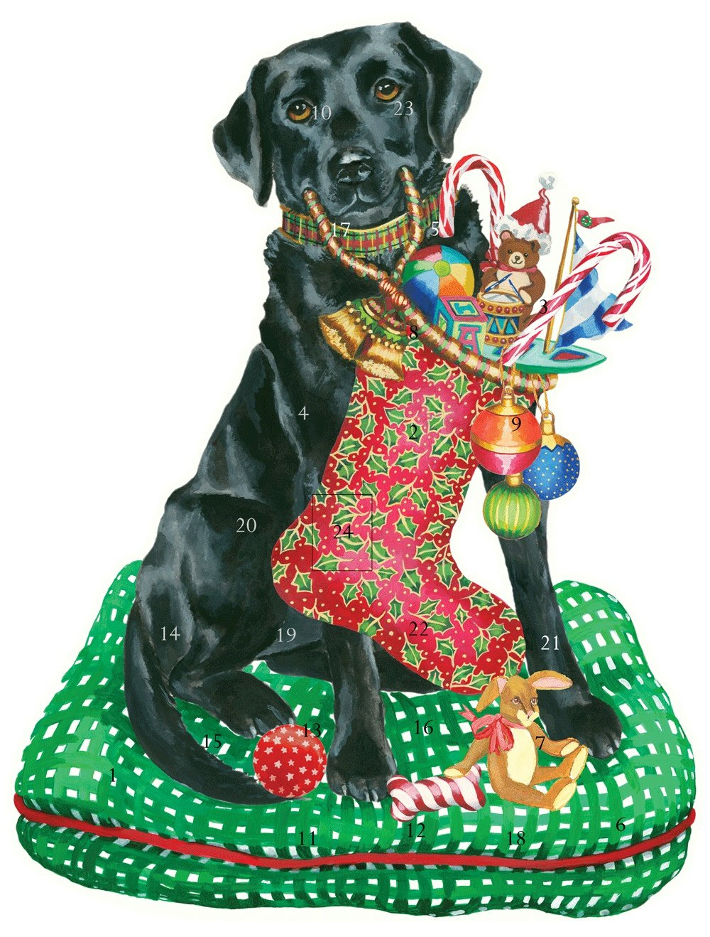 Entertaining with Caspari Christmas Standing Advent Calendar, Black Dog Labrador