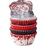Wilton Products Bloodspatter Standard Cupcake Liners, 125 Count With Tombstone Toppers - Pack of 3