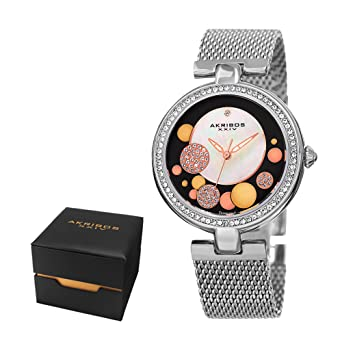 Akribos XXIV Womens Fashion Sparkling Quartz Watch - White Mother of Pearl Sunburst and Crystal Pave