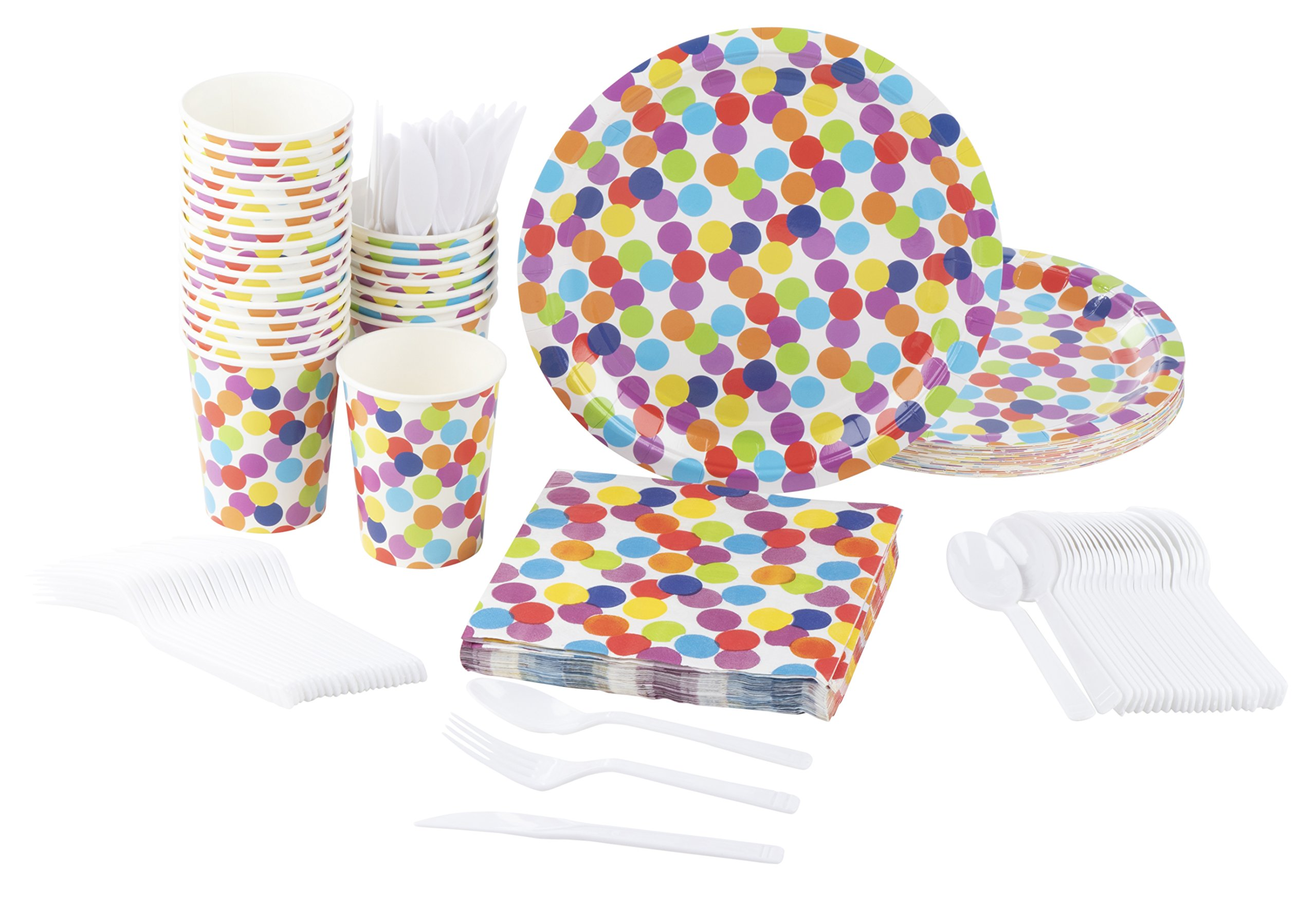 Disposable Dinnerware Set - Serves 24 - Polka Dot Party Supplies for Kids Birthdays - Includes Plastic Knives, Spoons, Forks, Paper Plates, Napkins, Cups