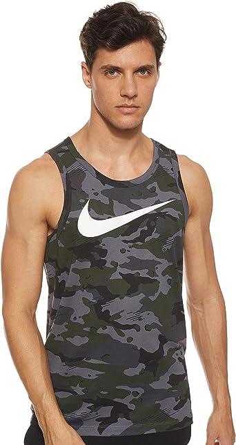 Nike Mens Dry Tank Dri-FIT¿ Cotton Swoosh Camo Dark Grey/Black/White 2XL