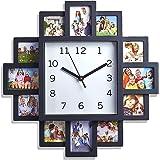 Livivo® Noir 12Cadre photo Mur Clock- élégant et moderne Cadre photos de famille et temps pièce