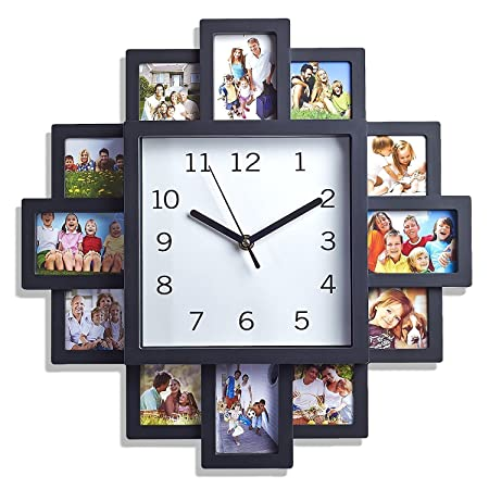 Black 12 Picture Photo Frame Wall Clock- Stylish Modern Family ...