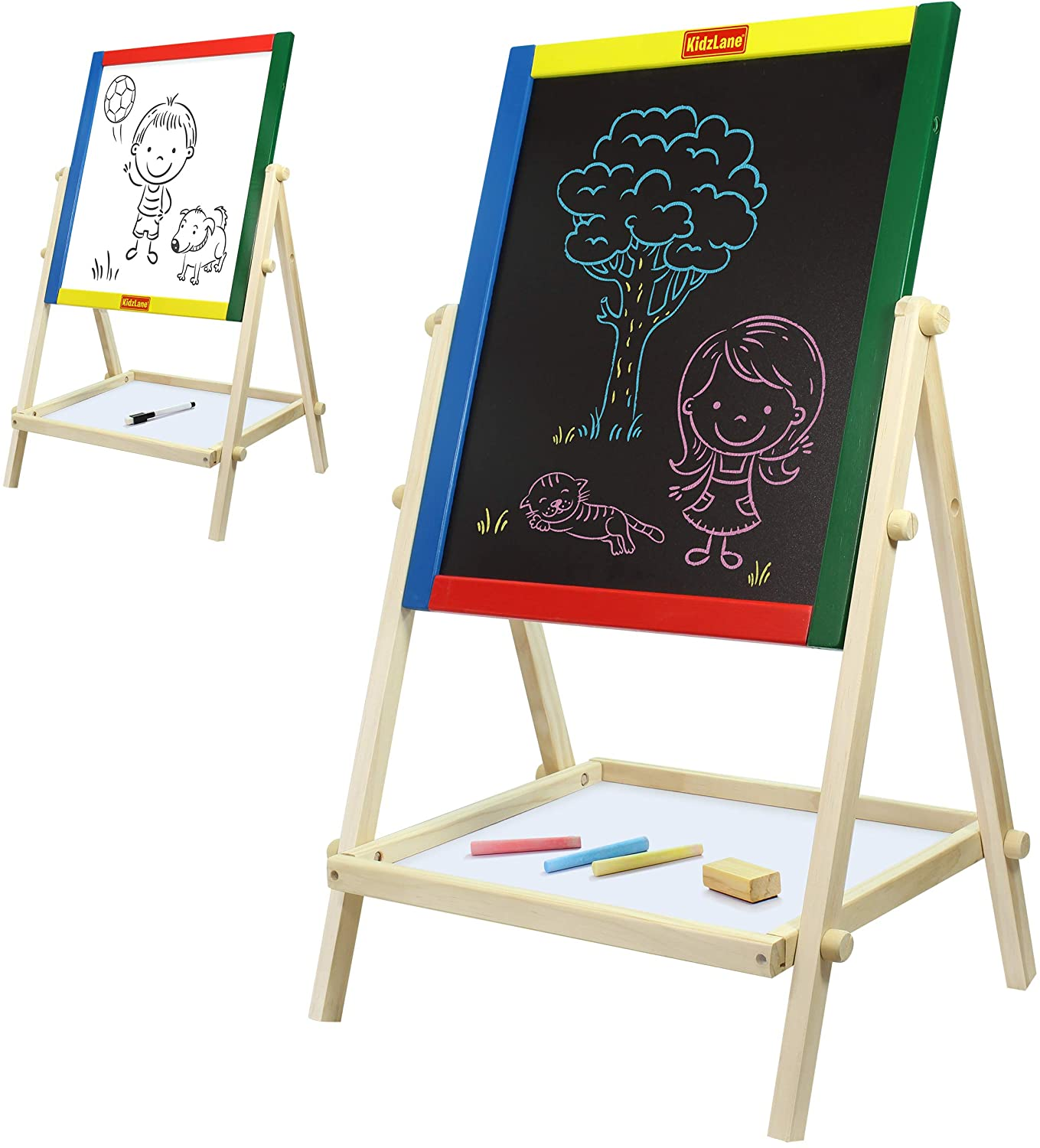 Kidzlane Double Sided Wooden Kids Easel - Features Whiteboard and Chalkboard with Built-in Shelf - Art Accessories Included Ages 3+