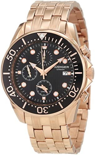 Rudiger Men s R2001-09-007 Chemnitz Rose Gold IP Black Dial Chronograph Watch